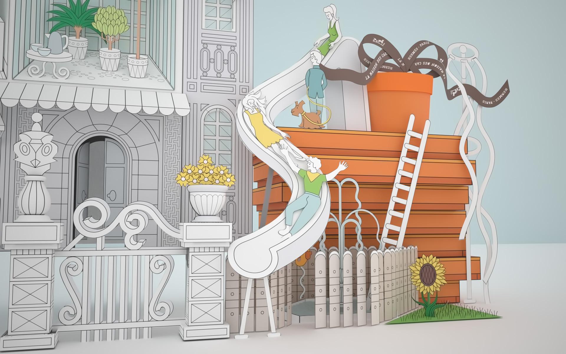 Maison de Carrés Hermes   Olivier Regneault Graphiste 3D 1a02e960ded
